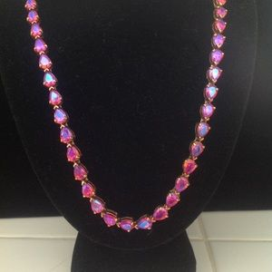 UTC Sterling Silver Fuschia Pink Crystal Necklace